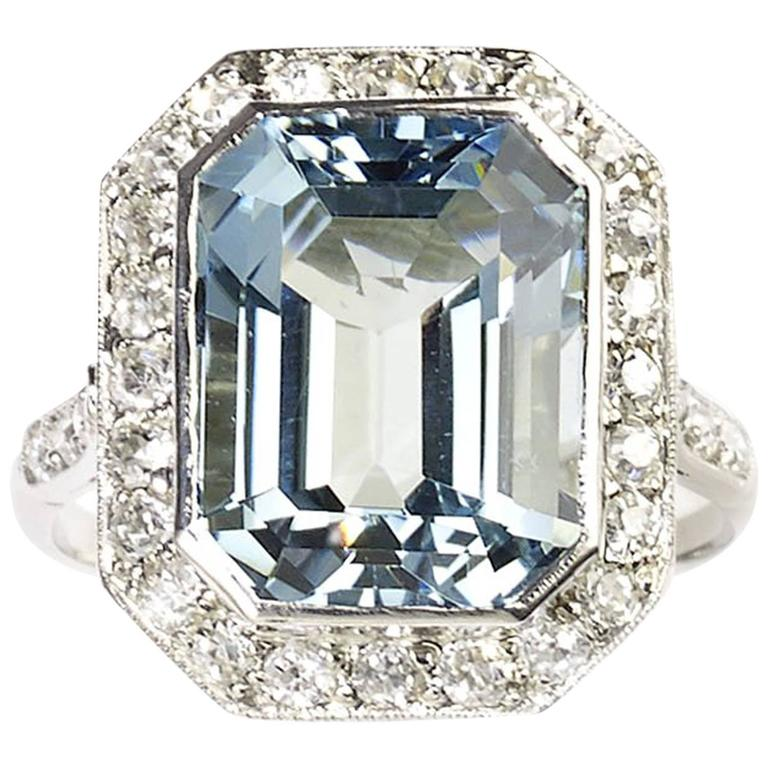 Art Deco Aquamarine  Diamond Ring 1