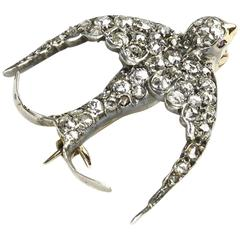 Diamond Swallow Brooch