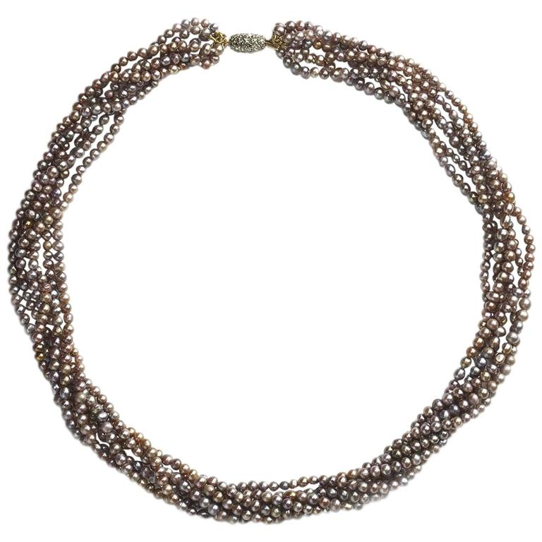 Multi Row Pearl Necklace: Multi Row Grey Pearl Necklace At 1stdibs