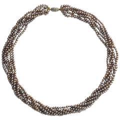 Multi Row Grey Pearl Necklace
