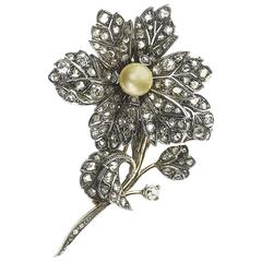 Diamond Silver Gold en-tremblant flower brooch