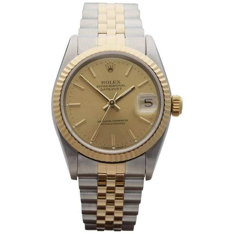 Rolex Ladies Yellow Gold Stainless Steel Datejust Mid Size Automatic Wrist Watch 1