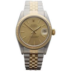 Rolex Ladies Yellow Gold Stainless Steel Datejust Mid Size Automatic Wrist Watch
