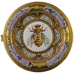 1870s Egyptian Revival Honey Bee Micro Mosaic Gold Brooch