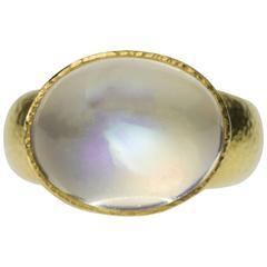 Blue Moonstone Hammered Gold Ring