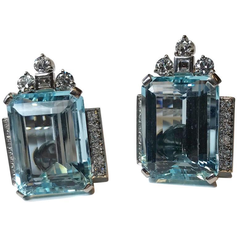 Tiffany & Co Retro Period Aquamarine Platinum Earrings