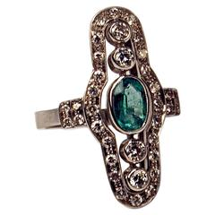 Art Deco Austrian Emerald Diamond Gold Dinner Ring