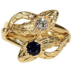 Antique French Sapphire Diamond Gold Snake Ring