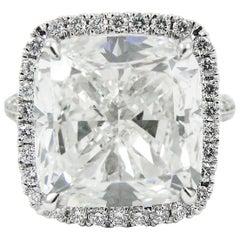 Sparkling 9.01 Carat GIA Cushion Diamond Pave Frame Ring