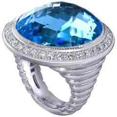 Alex Soldier Blue Topaz Diamonds White Gold Symbolica Ring Limited Edition