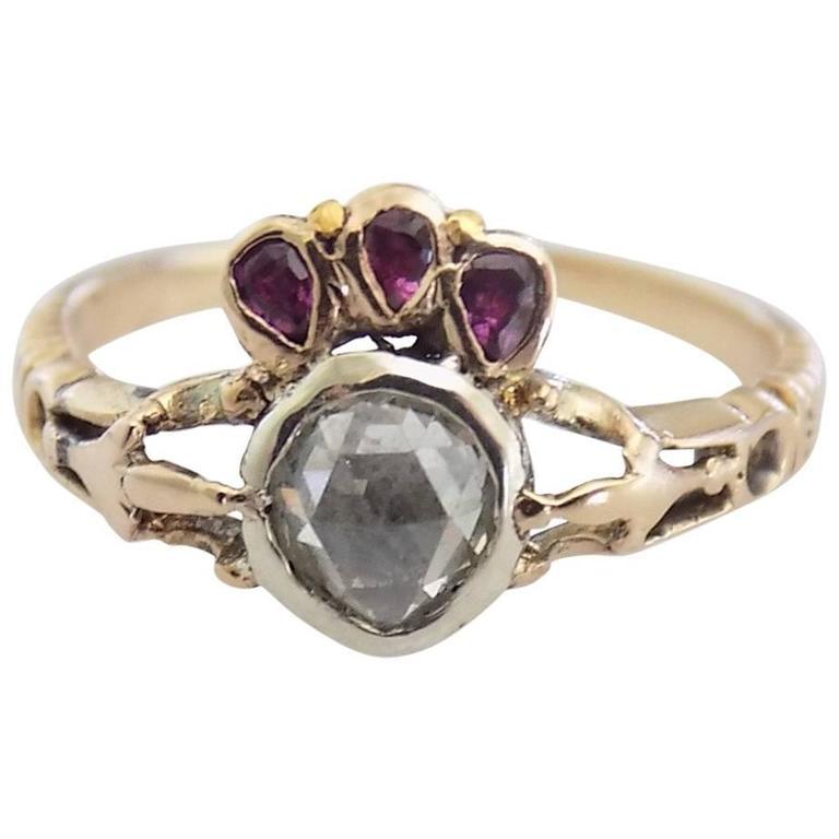 1780s Georgian Ruby Diamond Gold Crowned Heart Ring