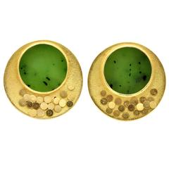 Zobel Jade and Gold Round Clip-On Earrings