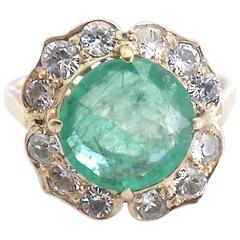 Victorian 3.00 Carat Emerald Gold Cluster Flower Ring