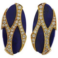 1970s Cartier Paris Gold Lapis Diamond Earrings