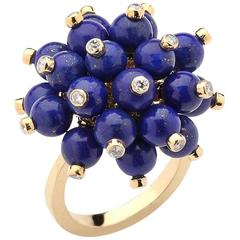 Beaded Lapis Lazuli Ring