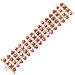 Mediterranean Coral Diamond Gold Bracelet