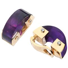 Aletto Brothers African Rock Amethyst Diamonds Yellow Gold Earrings