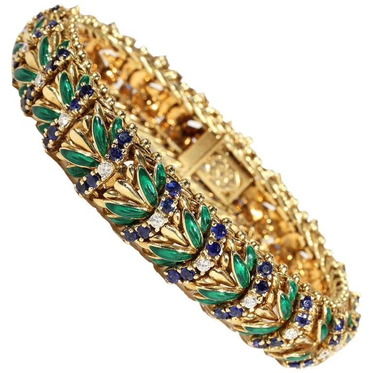 Enamel Sapphire Diamond Gold Bracelet For Sale