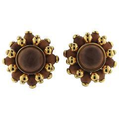 Verdura Gold Wood Earrings