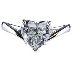 GIA Certified 2.00 Carat Heart-Shape Diamond Platinum Solitaire Engagement Ring