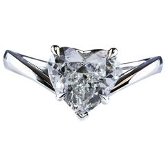 GIA Certified 2.00 Carat Heart-Shape Diamond Platinum Solitaire Engagement Ring