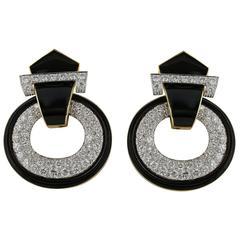 David Webb Black Enamel Diamond Gold Earrings