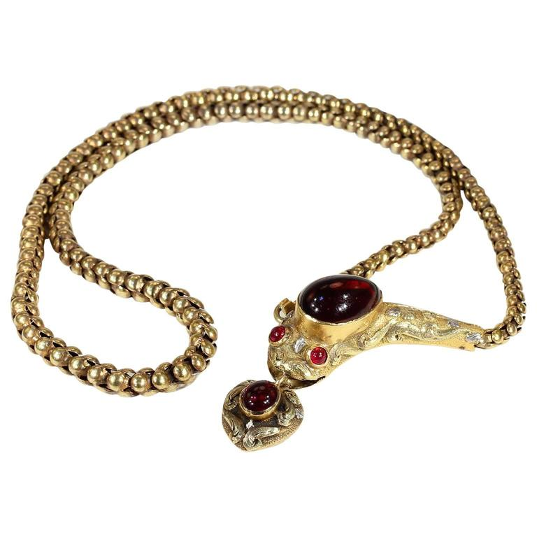 Antique Victorian Garnet Gold Snake Necklace For Sale at 1stdibs