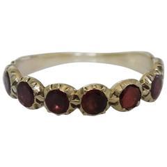 Georgian Flat Cut Garnet Gold Half Eternity Ring