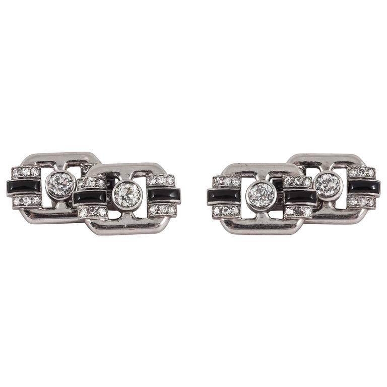 French Art Deco   onyx diamond platinum cufflinks