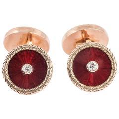 Russian red enamel diamond gold cufflinks