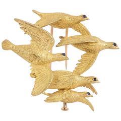 1950s Hermes  Paris Flock of Grouse Gold Pin