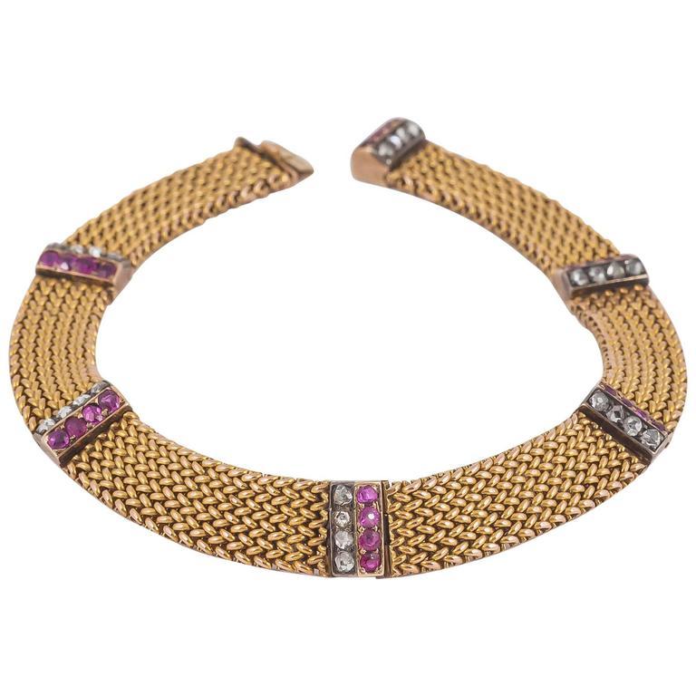 Antique Edwardian Austrian  diamond ruby gold bracelet