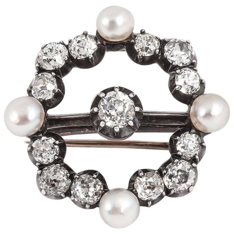 Antique Victorian English natural pearl diamond circle pendant brooch