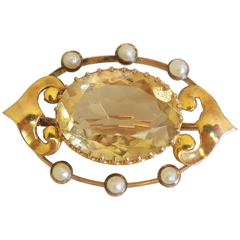 1900s Art Nouveau Citrine Pearl Gold Brooch