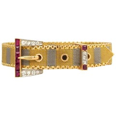 Antique Two-Color Woven Gold, Ruby and Diamond Belt Strap Bracelet