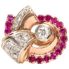 1950s Retro Diamond and 14 Karat Rose and White Gold Ring