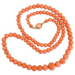 Victorian Gold Graduated Coral Beads Necklace