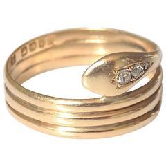 18K Antique Edwardian Diamond Yellow Gold Snake Ring