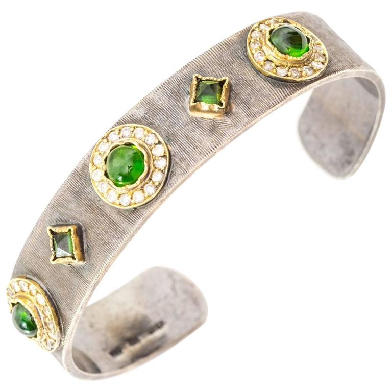 1990s John Apel Designer Tsavorite and Diamond Cuff Bangle