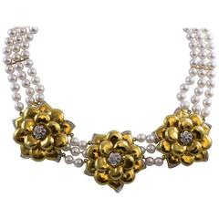 Wempe Diamond and Pearl Gold Flower Necklace