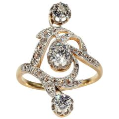 French Art Nouveau Diamond gold platinum Ring