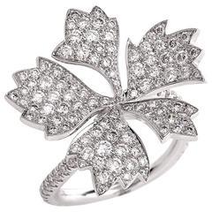 French Diamond Gold Flower Ring
