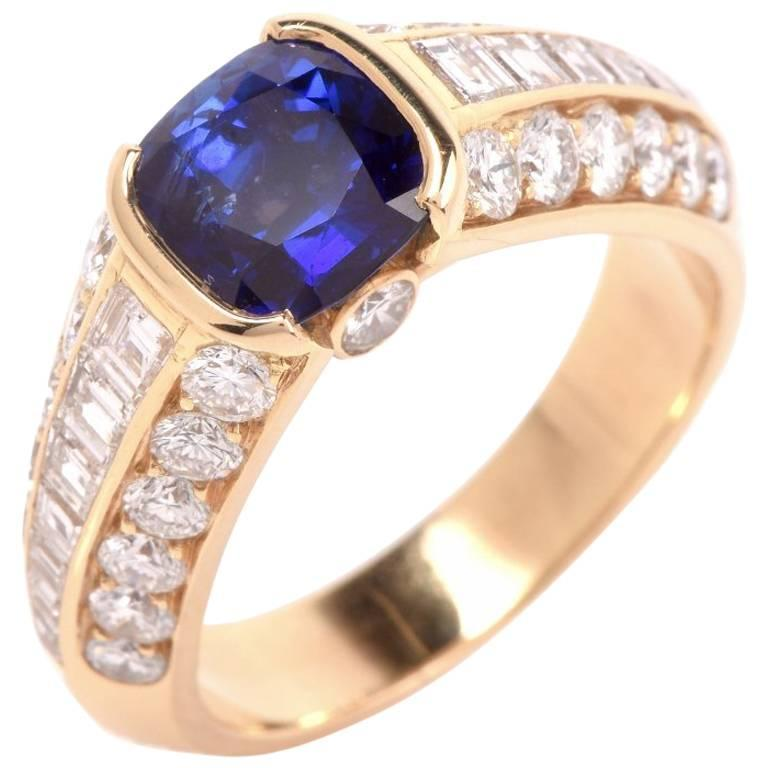 1980s French Sapphire Gold Ring
