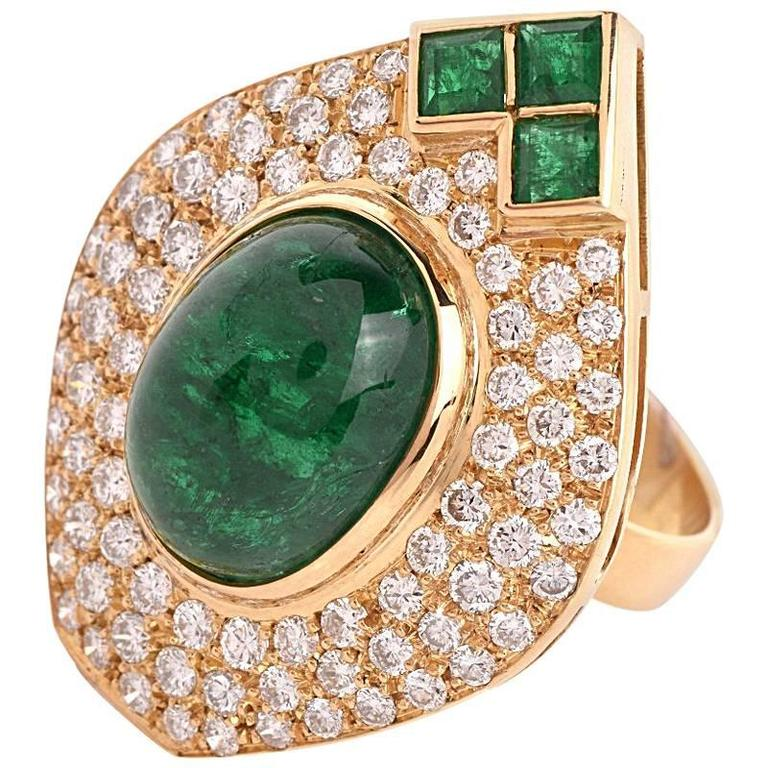 1980s Diamond Emerald Cluster Ring 1