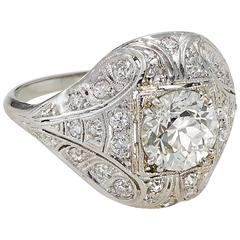 Old European Cut Diamond Platinum Ring