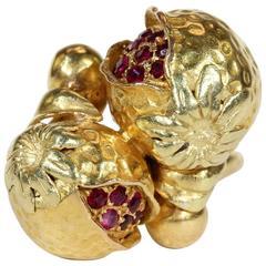 Antique Art Nouveau Ruby Pomegranate Gold Ring