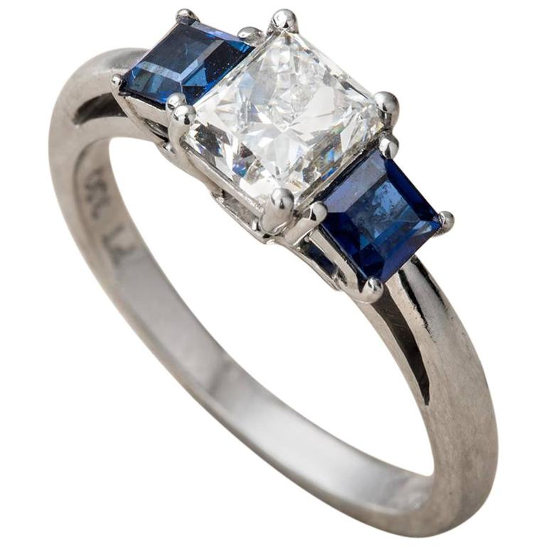 Platinum Engagement Ring Princess cut diamond and sapphires