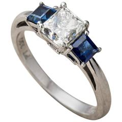 Platinum Engagement Ring Princess cut diamond and sapphires