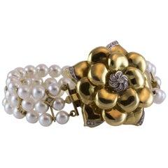 Wempe Diamond and Pearl Gold Flower Bracelet