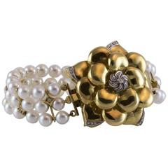 Wempe Diamond and Pearl Gold Flower Bracelet
